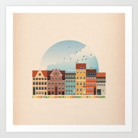 copenhagen Art Prints featuring Copenhagen by HOONISME