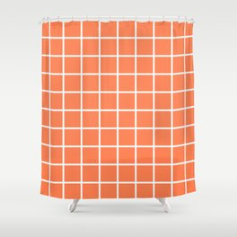 GRID (WHITE & CORAL) Shower Curtain