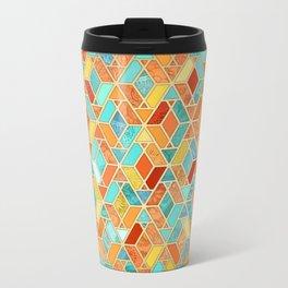 Tangerine & Turquoise Geometric Tile Pattern Metal Travel Mug