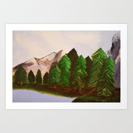 Mountains and trees Art Print
