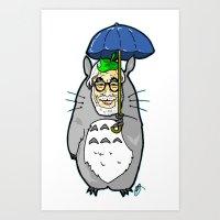 hayao miyazaki Art Prints featuring Hayao Miyazaki IS... Tortoro.  Is this his goodbye? by beetoons