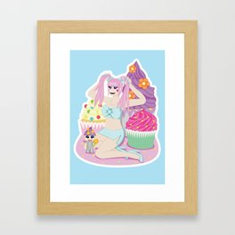 Cupcake Girl Scene Framed Art Print