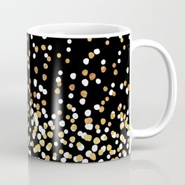 Floating Dots - White and Gold on Black Coffee Mug