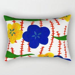 Blue and Yellow Floral Patterns Rectangular Pillow