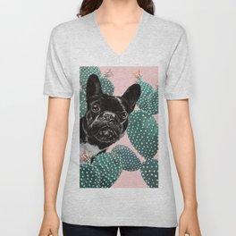 French Bulldog and Cactus Pink Unisex V-Neck