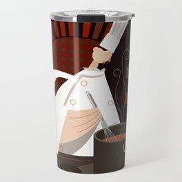 CHEF STIRRING ON BLACK Travel Mug