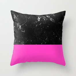 Pink Meets Black Marble #1 #decor #art #society6 Throw Pillow
