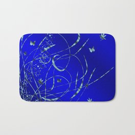 blue festive shiny metal pattern with small butterflies, Asian flowers and drops of water Bath Mat
