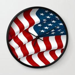 WAVY AMERICAN FLAG JULY 4TH ART Wall Clock