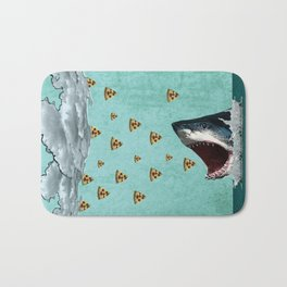 Pizza Shark Print Bath Mat