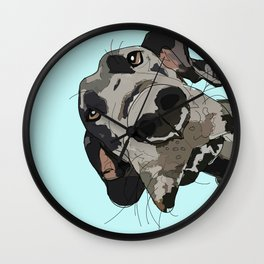 Great Dane in your face (teal) Wall Clock