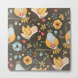 Hand drawn dreaming birds flowers vector elements scandinavian folk art seamless pattern No 01 Metal Print