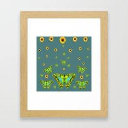 BLUE-GREEN-YELLOW PATTERNED MOTHS YELLOW SUNFLOWERS Framed Art Print