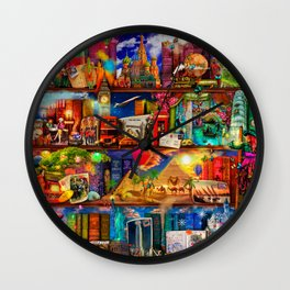 World Traveler Book Shelf Wall Clock