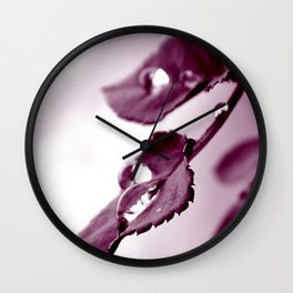 Kunstfoto Regentropfen auf Blatt Wall Clock