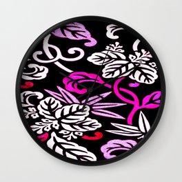 Fuchsia Pink Japanese Floral Pattern Wall Clock