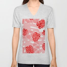 red monstera Unisex V-Neck