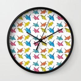 Colourfull paper cranes Wall Clock