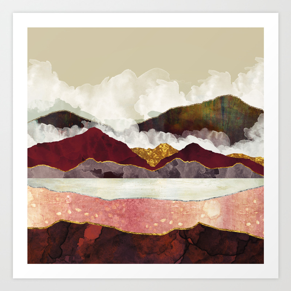 Melon Mountains Art Print by Spacefrogdesigns
