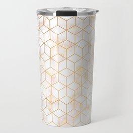 Geometric Gold Pattern on Gold Marble Travel Mug