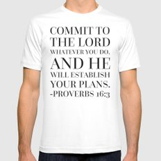 Proverbs 16:3 Bible Quote MEDIUM White Mens Fitted Tee