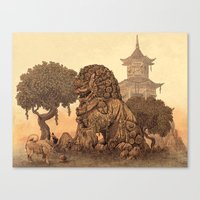 foo fighters Canvas Prints featuring Foo Dogs  by Terry Fan