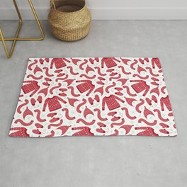 Red white snow flakes Christmas winter fashion pattern Rug