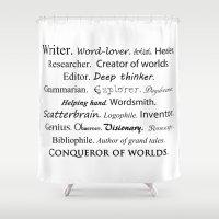writer Shower Curtains featuring Writer by Rebekah Joan