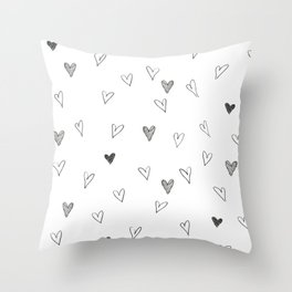 Ink hearts pattern Throw Pillow