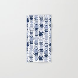 Swedish folk cats III // white background pale and navy blue kitties & bowls Hand & Bath Towel