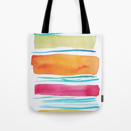 15   |181026 Lines & Color Block | Watercolor Abstract | Modern Watercolor Art Tote Bag