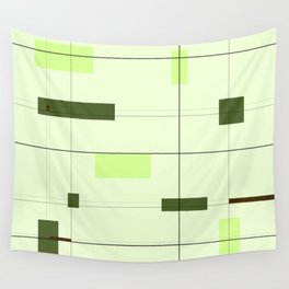Mid Mod Grid in Green Wall Tapestry
