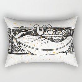 Wing Feather Inktober :: Bronzed Angels Barefoot Rectangular Pillow