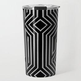 3-D Art Deco Silver Architectural Design Travel Mug