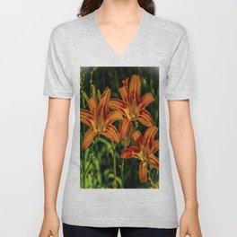 Orange Tiger Lily Trio Unisex V-Neck