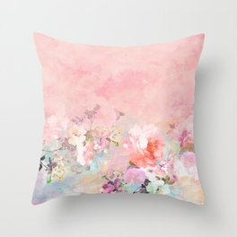 Modern blush watercolor ombre floral watercolor pattern Throw Pillow