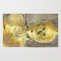 c3po Area & Throw Rugs featuring C3PO by Johannes Vick