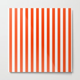 Orange Pop and White Vertical Cabana Tent Stripes Metal Print