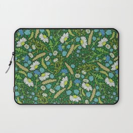 Chamomile and blue chicory among herbs and wheat Laptop Sleeve