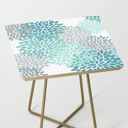 Floral Pattern, Aqua, Teal, Turquoise and Gray Side Table