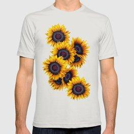 Sunflowers yellow navy blue elegant colorful pattern T-shirt