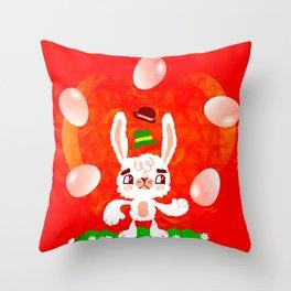 Juggling Rabbit Throw Pillow