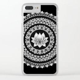 Black and White Lotus Mandala Clear iPhone Case
