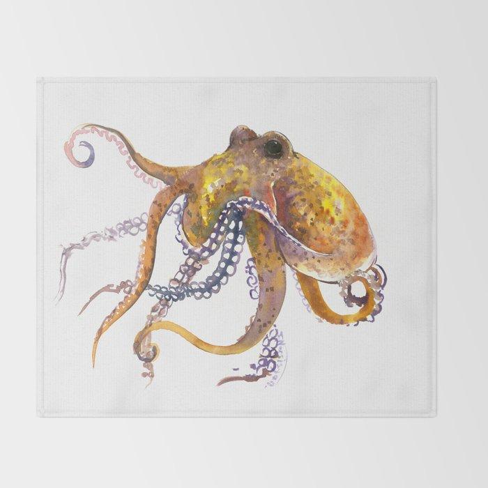 Octopus, orange red gold underwater scene octopus lover design, beach Throw Blanket