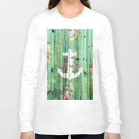 preppy Long Sleeve T-shirts featuring Vintage Floral Nautical Anchor Green Beach Wood by Girly Trend