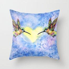 Hummingbirds in Love Throw Pillow