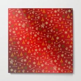 red Merry christmas text in gold, beautiful reindeer, green fir trees, bright stars festive, elegant Metal Print