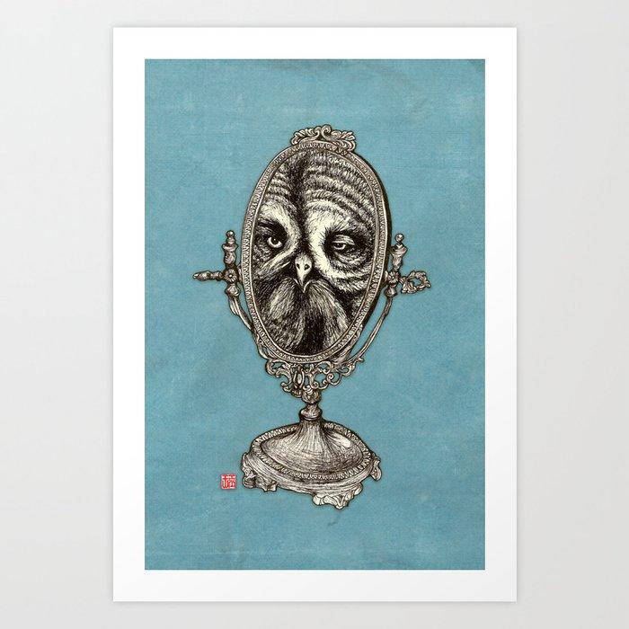 Owl Mirror Art Print