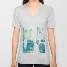 Two Horses and Sky Unisex V-Neck