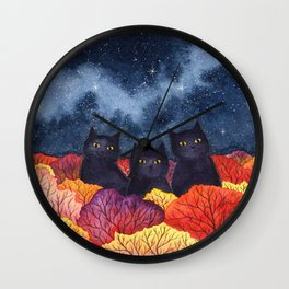 Three Black Cats in Autumn Watercolor Wall Clock
